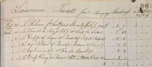 Hay and Co 1853 ledger page from Shetland Whaler Laurence Twatt