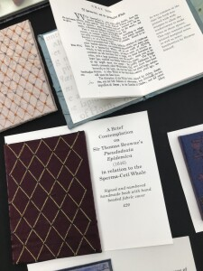 A Brief Contemplation on Sir Thomas Browne. Display of hand made artist's books