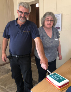 Cutting the cake for Melville's 200th Birthday at Burton Constable Hall